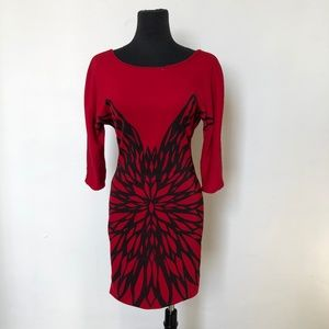 Red 3/4 Sleeve Dress With Black Floral Print